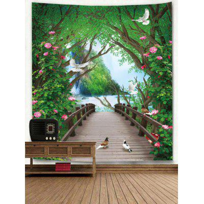 Flowers Forest Bridge Print Wall TapestryBlankets &amp; Throws<br>Flowers Forest Bridge Print Wall Tapestry<br><br>Material: Polyester<br>Package Contents: 1 x Tapestry<br>Shape/Pattern: Floral,Forest<br>Style: Natural<br>Theme: Landscape<br>Weight: 0.2500kg
