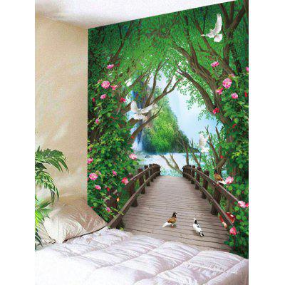 Flowers Forest Bridge Print Wall Tapestry