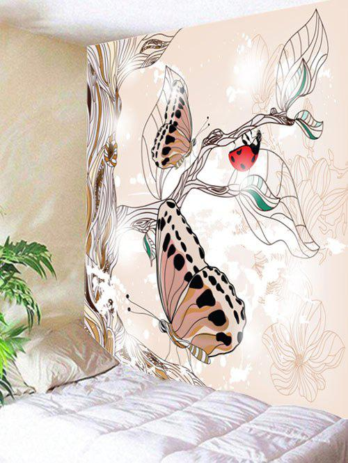 Butterfly Ladbug Plant Print Tapestry