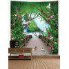 Flowers Forest Bridge Print Wall Tapestry - GREEN