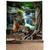 Stream Tiger Print Wall Hanging Tapestry - GREEN