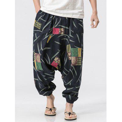 Baumwolle Leinen Printed Jogger Pants