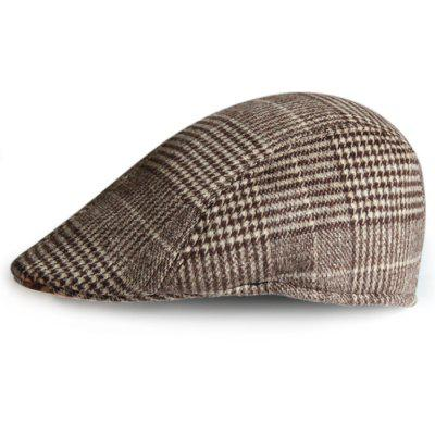 Simple Tartan Pattern Embellished Newsboy Hat