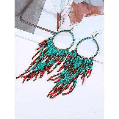 Boho Bead Tassel Decorated Drop Earrings