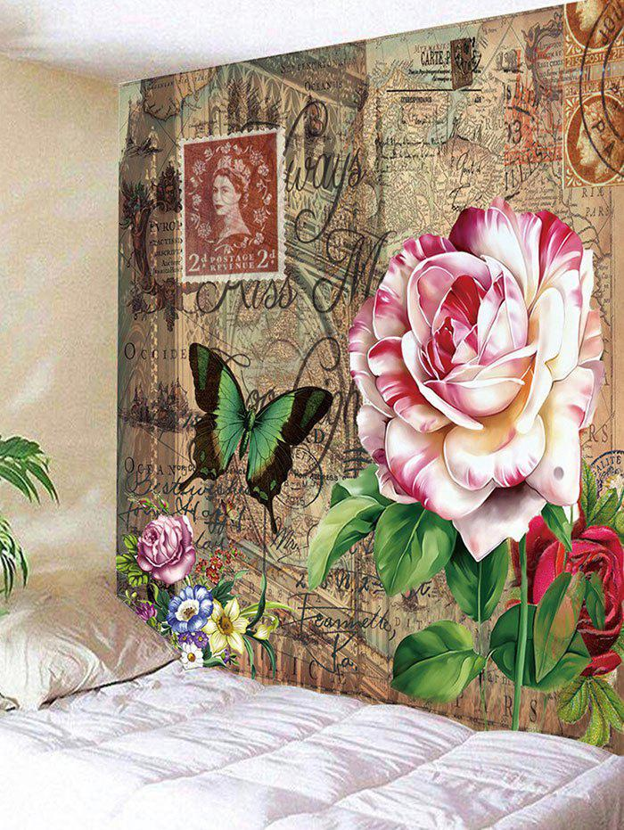 Stamp Oil Painting Flower Pattern Tapestry