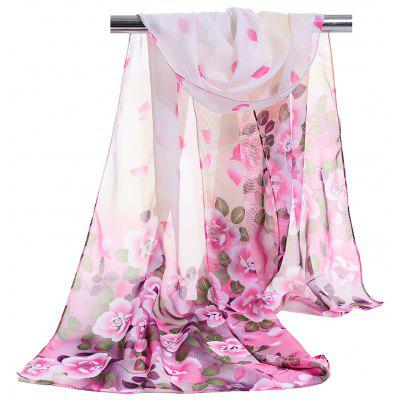 Romantic Rose Pattern Soft Chiffon Scarf