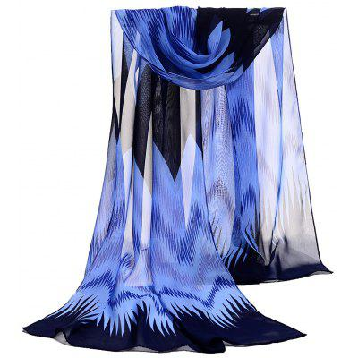 Vintage Wave Stripe Pattern Embellished Soft Chiffon Scarf
