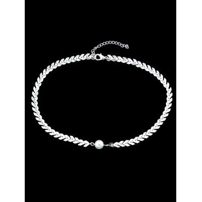 Center Faux Pearl Fishbone Chain Necklace