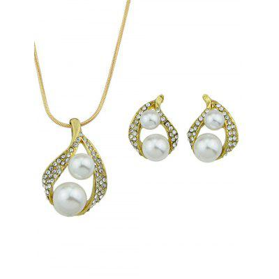 Snake Chain Rhinestone Faux Pearl Pendant Necklace Set