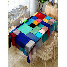 Colorful Squares And Rectangles Print Dining Table Cloth