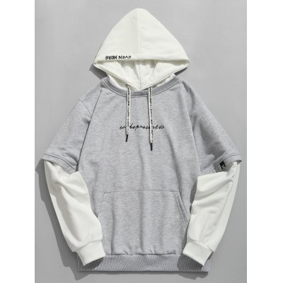 Contrast Color Pouch Pocket Hoodie