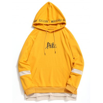 Letter Embroidered Pouch Pocket Hoodie