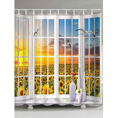 French Window Flying Birds Sunflowers Print Shower Curtain