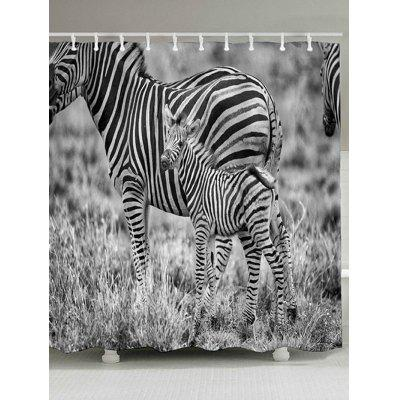 Grassland Zebras Print Shower Curtain