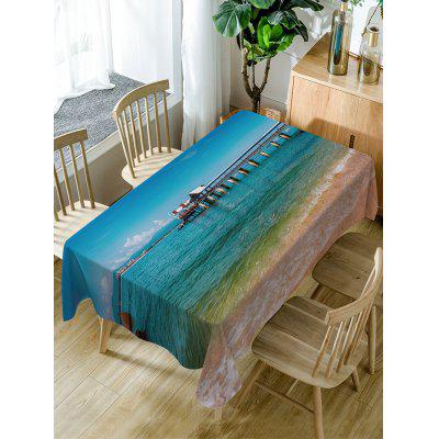 Sea Bridge Print Fabric Waterproof Table Cloth