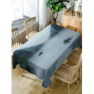River In Mountains Print Fabric Waterproof Table Cloth