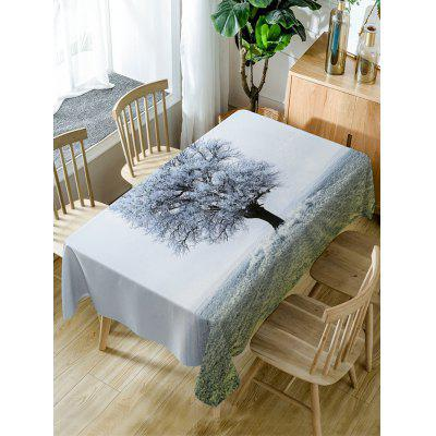 Frozen Tree Print Waterproof Table Cloth