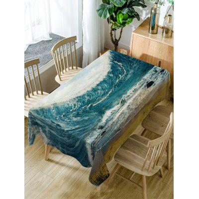 Ocean Wave Print Waterproof Table Cloth