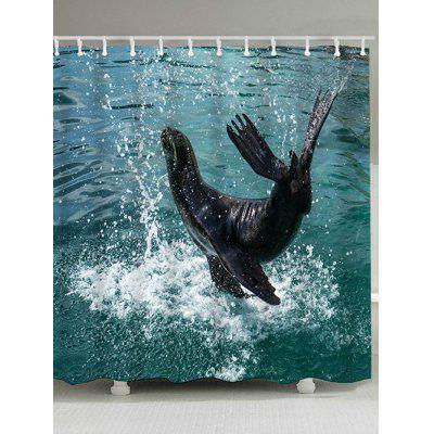 Leaping Dolphin Printed Shower Curtain