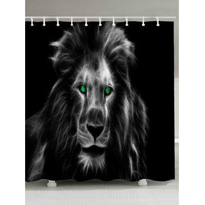 Waterproof Lion Night Eyes Print Bath Shower Curtain