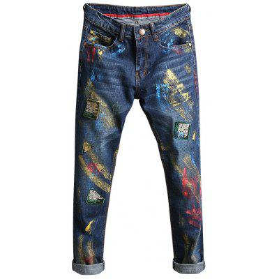 Buy DEEP BLUE 38 Slim Fit Paint Splatter Patch Design Jeans for $44.13 in GearBest store