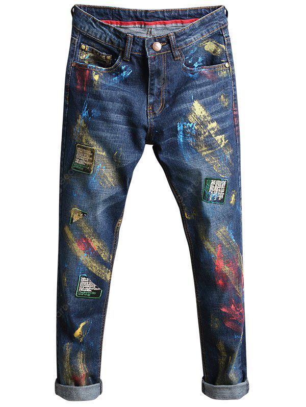 DEEP BLUE 32 Slim Fit Paint Splatter Patch Design Jeans