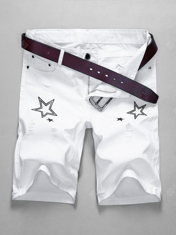 Zip Fly Star Imprimir Shorts destruídos