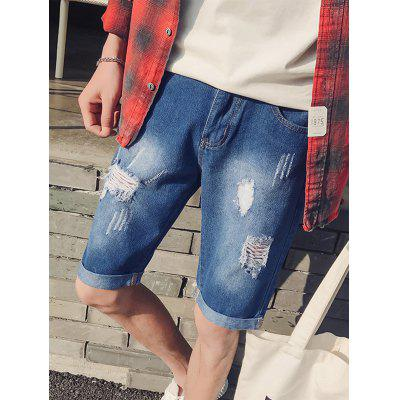 Zip Fly Cuffed Ripped Denim ShortsMens Shorts<br>Zip Fly Cuffed Ripped Denim Shorts<br><br>Closure Type: Zipper Fly<br>Fit Type: Regular<br>Front Style: Flat<br>Length: Knee-Length<br>Material: Cotton, Polyester, Rayon<br>Package Contents: 1 x Shorts<br>Style: Casual<br>Waist Type: Mid<br>Weight: 0.4000kg<br>With Belt: No