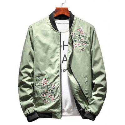 Floral Embroidery Casual Bomber Jacket