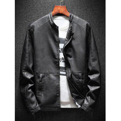 Stand Collar Zip Up Casual Faux Leather JacketMens Jackets &amp; Coats<br>Stand Collar Zip Up Casual Faux Leather Jacket<br><br>Closure Type: Zipper<br>Clothes Type: Leather &amp; Suede<br>Collar: Stand Collar<br>Material: Faux Leather, Polyester<br>Occasion: Work, Going Out, Casual<br>Package Contents: 1 x Jacket<br>Season: Fall, Spring, Winter<br>Shirt Length: Regular<br>Sleeve Length: Long Sleeves<br>Style: Casual<br>Weight: 0.8000kg