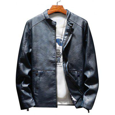 Stand Collar Zip Up Casual Faux Leather Jacket