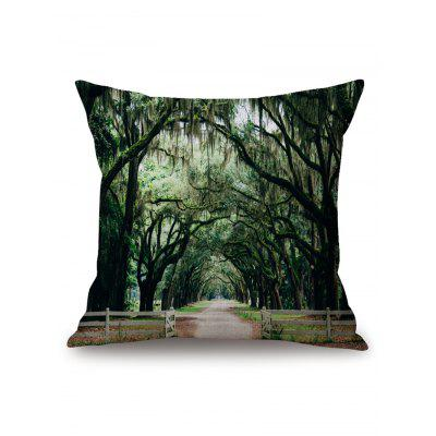 Trees Village Road Print Square Pillow Case