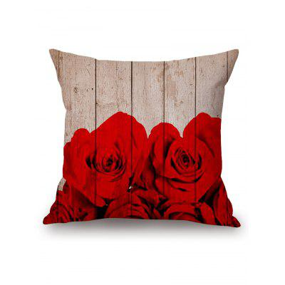 Rose on The Wood Plank Print Square Pillow Case