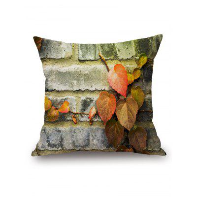 Leaves on Brick Wall Print Square Pillow Case