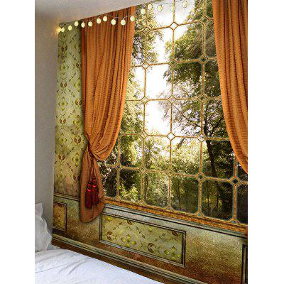 Window with Curtain Trees Print Wall Hanging TapestryBlankets &amp; Throws<br>Window with Curtain Trees Print Wall Hanging Tapestry<br><br>Feature: Removable, Waterproof<br>Material: Velvet<br>Package Contents: 1 x Tapestry<br>Shape/Pattern: Tree,Window<br>Style: Vintage<br>Weight: 0.3600kg