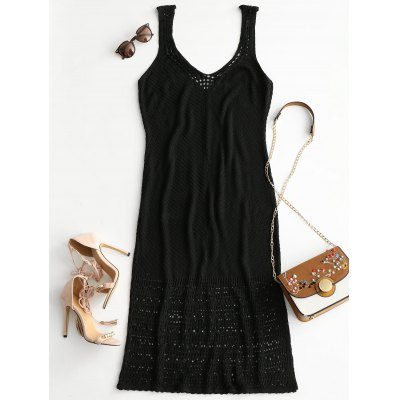 Plunging Neck Crochet Cover-up Dress