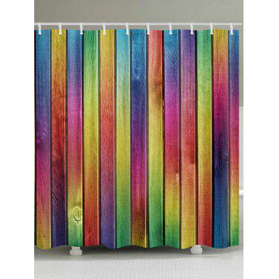 Colorful Wooden Plank Print Waterproof Shower Bath Curtain