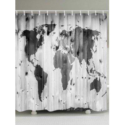 Wood Board Map Print Waterproof Bath Shower Curtain