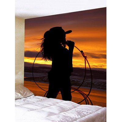 West Cowgirl Sunset Print Wall Hanging Tapestry