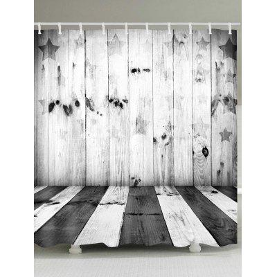 Star Wood Plank Print Waterproof Shower Curtain