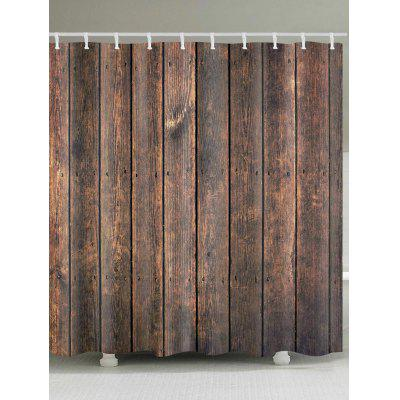 Wood Grain Print Polyester Shower Bath Curtain