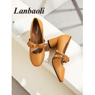 Lanbaoli Pearl Studded Bowknot PumpsWomens Pumps<br>Lanbaoli Pearl Studded Bowknot Pumps<br><br>Heel Height: 5.5cm<br>Heel Height Range: Med(1.75-2.75)<br>Heel Type: Chunky Heel<br>Insole Material: PU<br>Lining Material: PU<br>Occasion: Casual<br>Package Contents: 1 x Pumps (pair)<br>Pumps Type: Mary Janes<br>Season: Spring/Fall, Summer<br>Shoe Width: Medium(B/M)<br>Toe Shape: Pointed Toe<br>Toe Style: Closed Toe<br>Upper Material: PU,Synthetic<br>Weight: 1.0200kg
