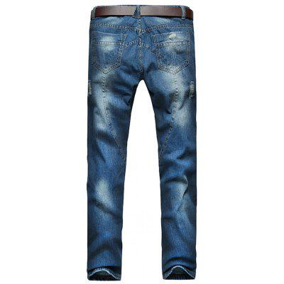 Five-pocket Style Distressed JeansMens Pants<br>Five-pocket Style Distressed Jeans<br><br>Closure Type: Zipper Fly<br>Fabric Type: Denim<br>Fit Type: Regular<br>Material: Cotton, Jean<br>Package Contents: 1 x Jeans<br>Pant Length: Long Pants<br>Pant Style: Straight<br>Waist Type: Mid<br>Wash: Destroy Wash<br>Weight: 0.5900kg<br>With Belt: No