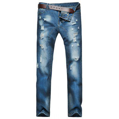 Five-pocket Style Distressed Jeans