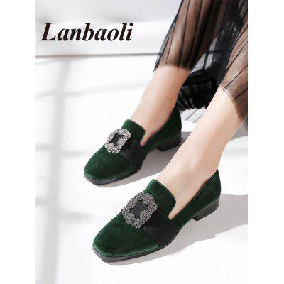 Lanbaoli Rhinestone Low Heel LoafersWomens Flats<br>Lanbaoli Rhinestone Low Heel Loafers<br><br>Closure Type: Slip-On<br>Embellishment: Rhinestone<br>Flat Type: Slip-On<br>Gender: For Women<br>Heel Height Range: Low(0.75-1.5)<br>Occasion: Casual<br>Package Contents: 1 x Loafers (pair)<br>Pattern Type: Others<br>Season: Spring/Fall<br>Shoe Width: Medium(B/M)<br>Toe Shape: Square Toe<br>Toe Style: Closed Toe<br>Upper Material: Suede<br>Weight: 1.0600kg