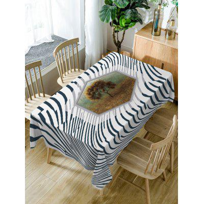 Tree and Striped Pattern Waterproof Table Cloth
