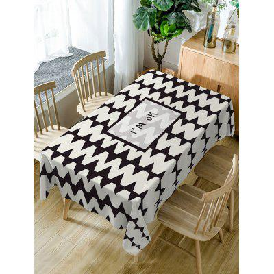 Letters and Zig Zag Print Fabric Waterproof Table Cloth
