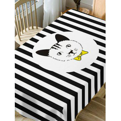 Cat and Striped Pattern Fabric Waterproof Table ClothTable Accessories<br>Cat and Striped Pattern Fabric Waterproof Table Cloth<br><br>Material: Polyester<br>Package Contents: 1 x Table Cloth<br>Pattern Type: Animal, Striped<br>Type: Table Cloth<br>Weight: 0.4600kg