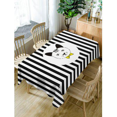 Cat and Striped Pattern Fabric Waterproof Table Cloth
