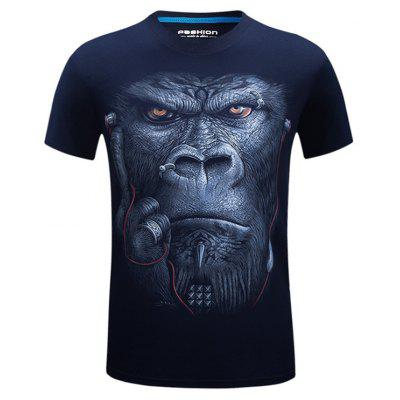 Gorilla with Earphone 3D Printed Tee